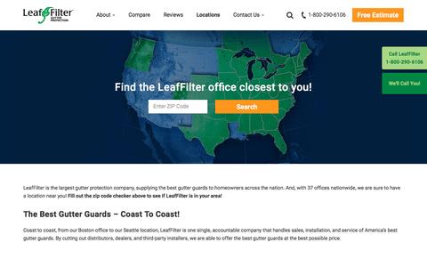 Screenshot of Locations Page leaffilter.com - Locations | LeafFilter - captured April 9, 2017