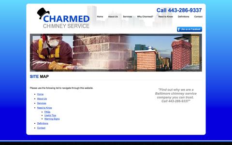 Screenshot of Site Map Page charmedchimney.com - Sitemap - Charmed Chimney Service of Baltimore Maryland - captured Oct. 2, 2014