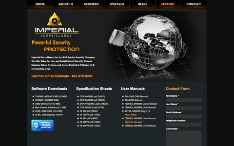 Screenshot of Support Page imperialcctv.com - Imperial Surveillance, Inc | Security Cameras Chicago | Access Control  Chicago | Security System Chicago - captured Oct. 6, 2014