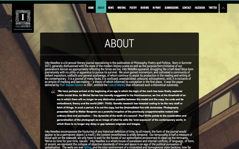 Screenshot of About Page inkyneedles.com - About | Inky Needles | Philosophy, Poetry, Politics. - captured Sept. 30, 2014