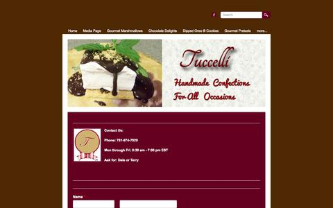 Screenshot of Contact Page marshmallowtemptations.com - Tuccelli Contact Page - Tuccelli   Gourmet Marshmallows   Confections - captured Oct. 6, 2014