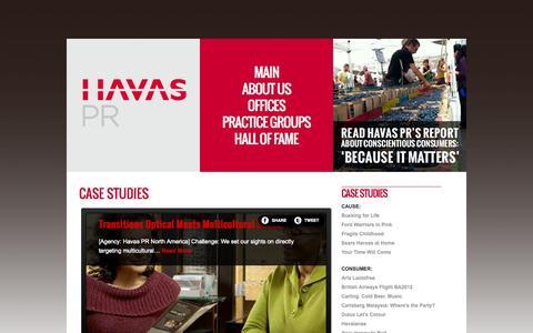Screenshot of Case Studies Page havaspr.com - Case Studies  |  Havas PR WW - captured Nov. 2, 2014