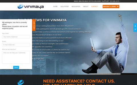 Screenshot of Contact Page vinimaya.com - Contact Vinimaya for a Procurement Savings Assessment - captured Oct. 26, 2014