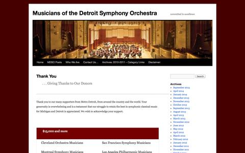 Screenshot of Support Page detroitsymphonymusicians.org - Thank You | Musicians of the Detroit Symphony Orchestra - captured Sept. 30, 2014