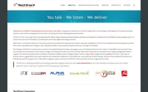 Screenshot of About Page techfront.in - About Techfront | Technology Frontiers - captured Dec. 3, 2016
