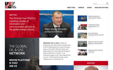 Screenshot of Home Page theoilandgasyear.com - The Oil & Gas Year (TOGY) - captured Feb. 14, 2016