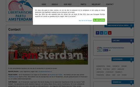 Screenshot of Contact Page lpamsterdam.nl - Contact | Libertarische Partij Amsterdam - captured Oct. 2, 2014
