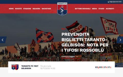 Screenshot of Home Page tarantofc.it - Taranto Fc - captured Nov. 15, 2018
