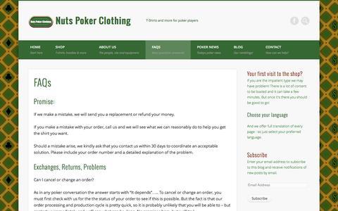 Screenshot of FAQ Page nutspokerclothing.com - FAQs - Nuts Poker Clothing - captured Sept. 30, 2014