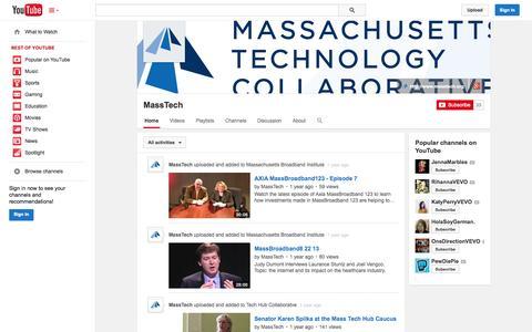 Screenshot of YouTube Page youtube.com - MassTech  - YouTube - captured Nov. 3, 2014