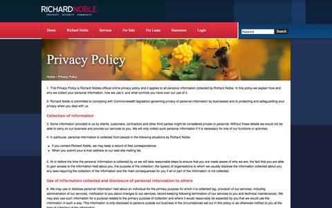 Screenshot of Privacy Page rnoble.com.au - Richard Noble - Privacy Policy - captured Oct. 26, 2014