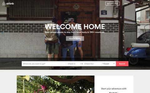 Screenshot of Home Page airbnb.com - Vacation Rentals, Homes, Apartments & Rooms for Rent - Airbnb - captured Feb. 20, 2016