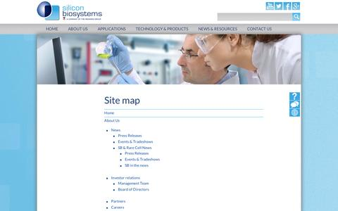 Screenshot of Site Map Page siliconbiosystems.com - Site map - captured Sept. 12, 2014