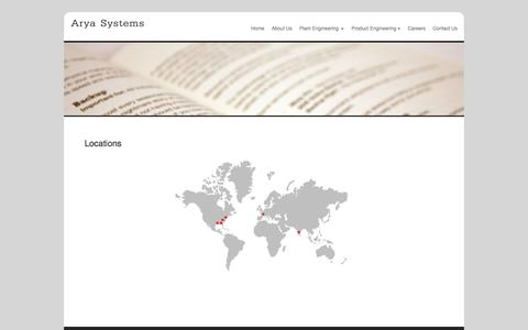 Screenshot of Locations Page aryasystems.com - Arya Systems - captured Oct. 8, 2017