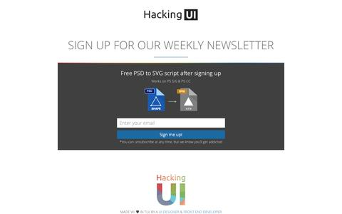 Screenshot of Signup Page hackingui.com - Sign up for our weekly newsletter | Hacking UI Magazine - captured Sept. 19, 2014
