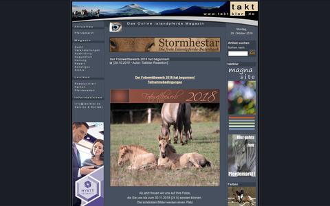 Screenshot of Home Page taktklar.de - www.taktklar.de - Das Online Islandpferde-Magazin - captured Oct. 29, 2018