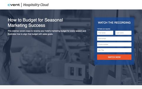 Screenshot of Landing Page cvent.com - How to Budget for Seasonal Marketing Success | Cvent - captured April 13, 2018