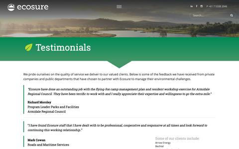 Screenshot of Testimonials Page ecosure.com.au - Testimonials - Ecosure - captured Dec. 7, 2018