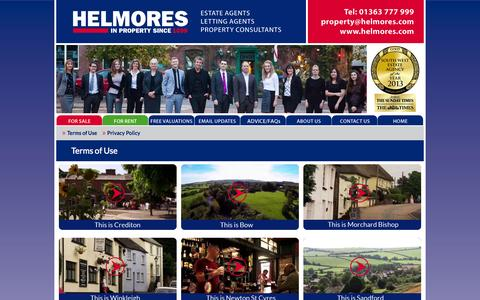 Screenshot of Terms Page helmores.com - Helmores Estate Agents terms of use - captured Oct. 2, 2014