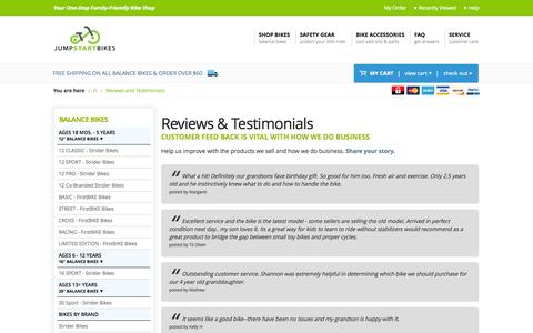Screenshot of Testimonials Page jumpstartbikes.com - Reviews & Testimonials : Jump Start Bikes - captured Oct. 29, 2014