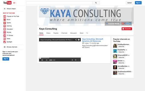 Screenshot of YouTube Page youtube.com - Kaya Consulting  - YouTube - captured Oct. 23, 2014