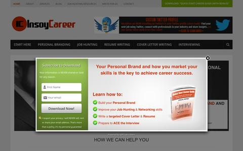 Screenshot of Home Page insoycareer.com - Personal Branding Tips For Job Seekers - InsoyCareer.com - captured Feb. 11, 2016