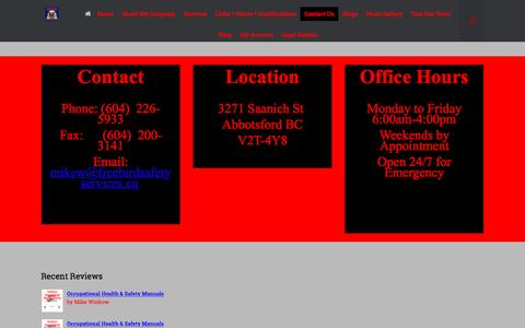 Screenshot of Contact Page freebirdsafetyservices.ca - Contact Us | FreeBird Safety Services - captured Oct. 30, 2016
