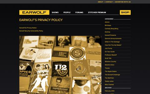Screenshot of Privacy Page earwolf.com - Earwolf's Privacy Policy on Earwolf - captured Sept. 26, 2018