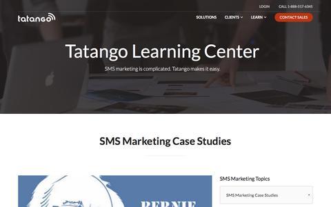 Screenshot of Case Studies Page tatango.com - SMS Marketing Case Studies | Tatango - SMS Marketing Software - captured Jan. 21, 2016