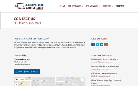 Screenshot of Contact Page ccicreations.com - Contact Computer Creations in Centerville, Ohio - Electronic Resource Planning - Hardware Solutions - captured Aug. 21, 2017