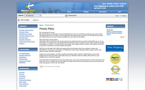 Screenshot of Privacy Page maximmart.com - Privacy Policy - MaximMart Microfiber towels, Cleaning cloths, Auto detailing polishing towels - captured Oct. 1, 2014