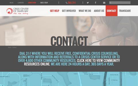 Screenshot of Contact Page crisiscenter.com - Contact - Crisis Center Of Tampa Bay - captured Feb. 1, 2016
