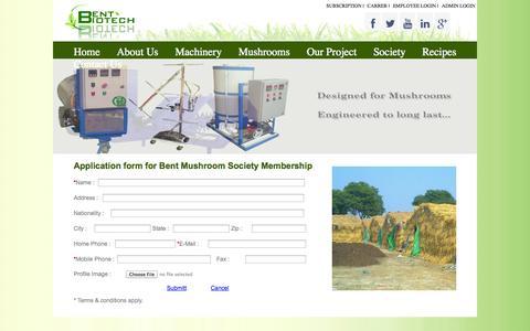 Screenshot of Signup Page bentbiotech.com - Bent Mushroom Society - captured Oct. 5, 2014