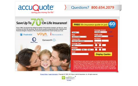 Screenshot of Landing Page accuquotelife.com - AccuQuote - Comparing low cost life insurance rates from top-rated companies - captured Oct. 27, 2014