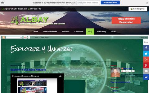 Screenshot of Blog explorer4albay.com - Blog - Explorer 4 Albay - Albay Business Directory - captured Nov. 14, 2016