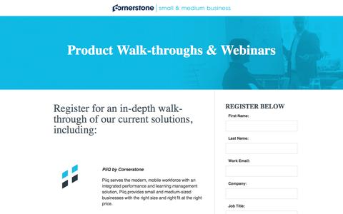 Screenshot of Landing Page cornerstoneondemand.com - CSOD | SMB Product Walk-throughs - captured Oct. 29, 2017