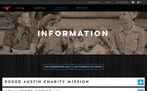 Screenshot of FAQ Page rodeoaustin.com - Information | Rodeo Austin - captured June 15, 2017