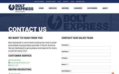 Screenshot of Contact Page bolt-express.com - Contact Us - Bolt Express - captured Aug. 14, 2018