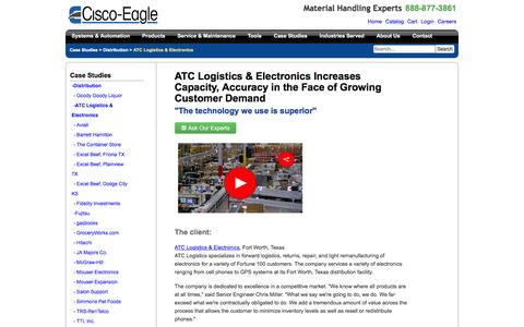 Screenshot of Case Studies Page cisco-eagle.com - ATC Logistics increases efficiency, processes more business with conveyor system: - captured Jan. 5, 2017