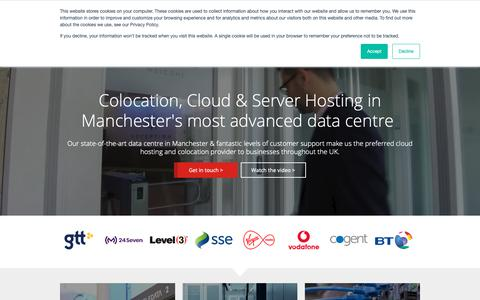 Screenshot of Home Page teledata.co.uk - Manchester data centre - UK colocation and cloud hosting from TeleData - captured Oct. 20, 2018