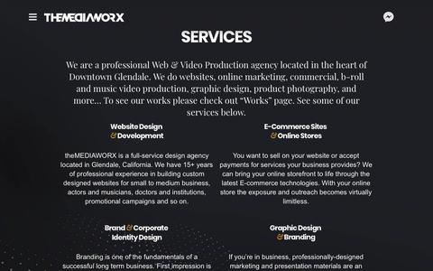Screenshot of Services Page themediaworx.com - theMEDIAWORX Services | theMEDIAWORX - captured Oct. 18, 2018