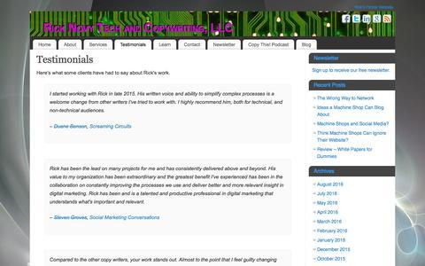 Screenshot of Testimonials Page novytechandcopy.com - Testimonials - Rick Novy Tech and Copywriting, LLC - captured Dec. 1, 2016