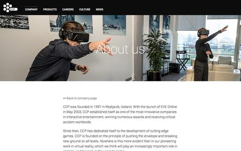 Screenshot of About Page ccpgames.com - About us - CCP Games - captured Sept. 25, 2018