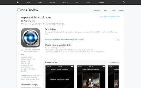Aspera Mobile Uploader on the App Store