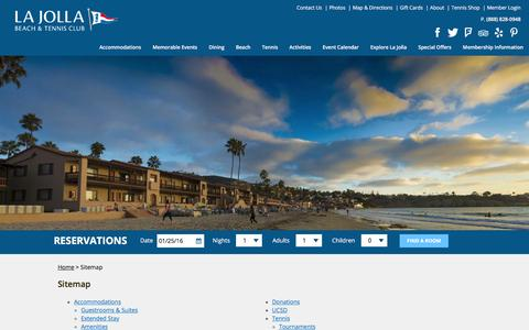 Screenshot of Site Map Page ljbtc.com - Sitemap | La Jolla Beach and Tennis Club - captured Jan. 25, 2016
