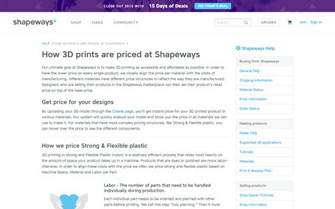 Screenshot of Pricing Page shapeways.com - How 3D prints are priced at Shapeways - Shapeways - captured Dec. 20, 2015