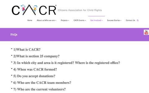 Screenshot of FAQ Page ngocacr.com - FAQs - Citizens Association for Child Rights - captured Nov. 6, 2016