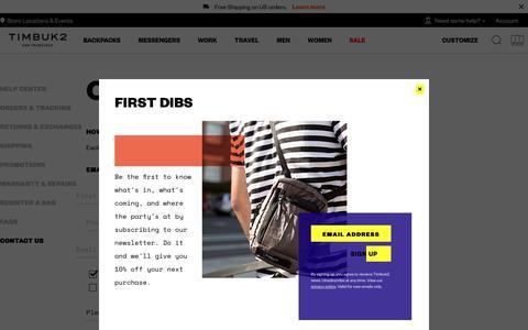 Screenshot of Contact Page timbuk2.com - Contact Us – Timbuk2 - captured Sept. 21, 2018
