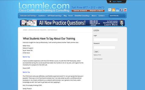 Screenshot of Testimonials Page lammle.com - Testimonials |  Lammle.com - captured Sept. 25, 2014