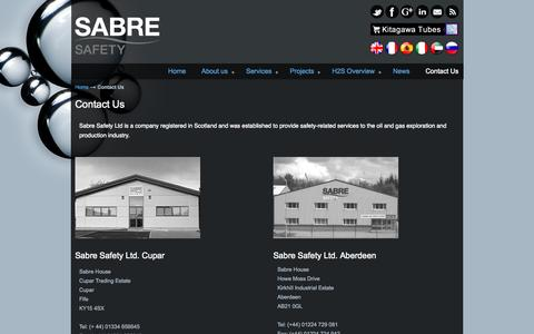 Screenshot of Contact Page sabreh2s.com - Contact Sabre Safety Offices Sabre Safety - captured Nov. 2, 2014